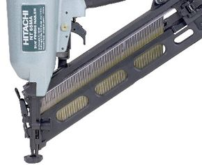 A standard nail gun magazine: A spring pushes the nails up into the feed mechanism, which sets it up in front of the blade.