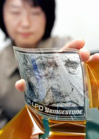 Bridgestone engineers developed this Quick Response Liquid Powder Display, a flexible digital screen, using nanotechnology.