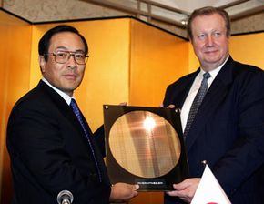 Toshiba shows off a prototype of a 90-nanometer silicon wafer. See more nanotechnology images.