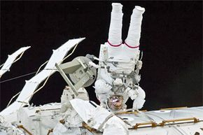 Astronaut Image Gallery There are no convenient portable toilets when you're doing a little extravehicular activity in space. See more astronaut pictures.