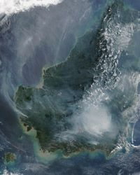 The Moderate Resolution Imaging Spectroradiometer on the Terra satellite documented images of fires on Borneo.
