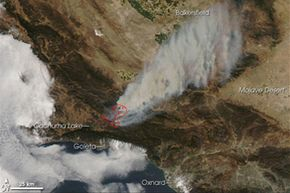 This image from the Moderate Resolution Imaging Spectroradiometer (MODIS) on NASA's Aqua satellite shows the Zaca Fire in Santa Barbara County, Calif., Aug. 5, 2007.