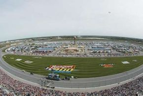"""The """"Banquet 400"""" logo in the infield of the Kansas Speedway is nearly the size of a football field."""