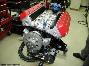 A Dodge NASCAR engine during assembly in the engine shop at Bill Davis Racing