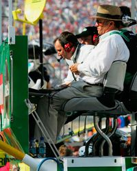 A pit box provides a high-tech way to monitor the car during a race -- and keep a close eye on the weather, too.