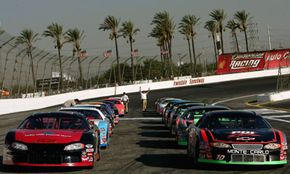 Cars line up on the track for qualifying in the Toyota All-Star Showdown on October 20, 2006, at the Irwindale Speedway in Irwindale, Calif.