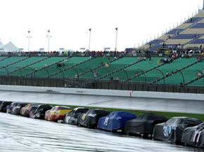 At a high-speed oval track, rain on race day means no racing.