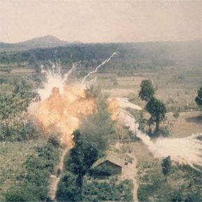 Napalm exploding in an area south of Saigon