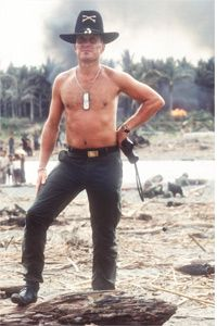 """He loves the smell of napalm in the morning -- Robert Duvall as Lt. Col. Kilgore on the set of """"Apocalypse Now."""""""