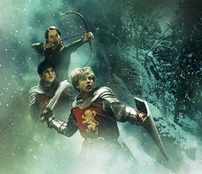 """Edmund, Susan and Peter Pevensie as shown in the 2005 film """"The Lion, the Witch and the Wardrobe."""""""