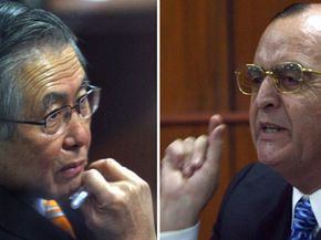 Former Peruvian president Alberto Fujimori (left) and his intelligence chief, Vladimiro Montesinos, during Fujimori's 2008 corruption trial.