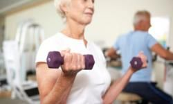 Weight training and aerobic exercise helps muscle strength, balance and bone density.