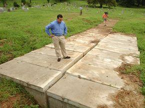 Empty concrete burial vaults await occupants at Hoboken Cemetery in North Bergen, N.J.