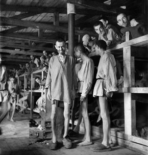 Prisoners at Buchenwald concentration camp in Germany in April 1945, just after the camp was liberated by the army of General George S. Patton.