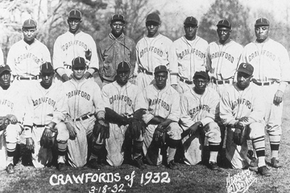 The team fielded in 1932 by the Pittsburgh Crawfords featured Satchel Paige (back row, second from the left), Josh Gibson (to his right) and Oscar Charleston (far right).