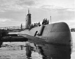 On July 23, 1958, crew members board the nuclear-powered submarine USS Nautilus (SSN-571). This historic voyage took the crew from Pearl Harbor, Hawaii, to the North Pole.