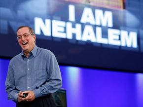 Intel's CEO Paul Otellini introduces the Nehalem microprocessor at a press conference. See more computer hardware pictures.