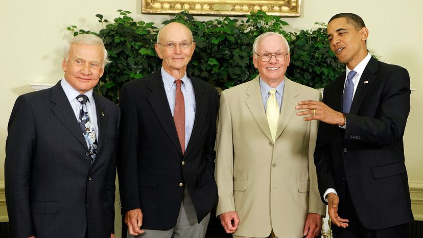 """Edwin """"Buzz"""" Aldrin, Michael Collins and Neil Armstrong, Barack Obama"""