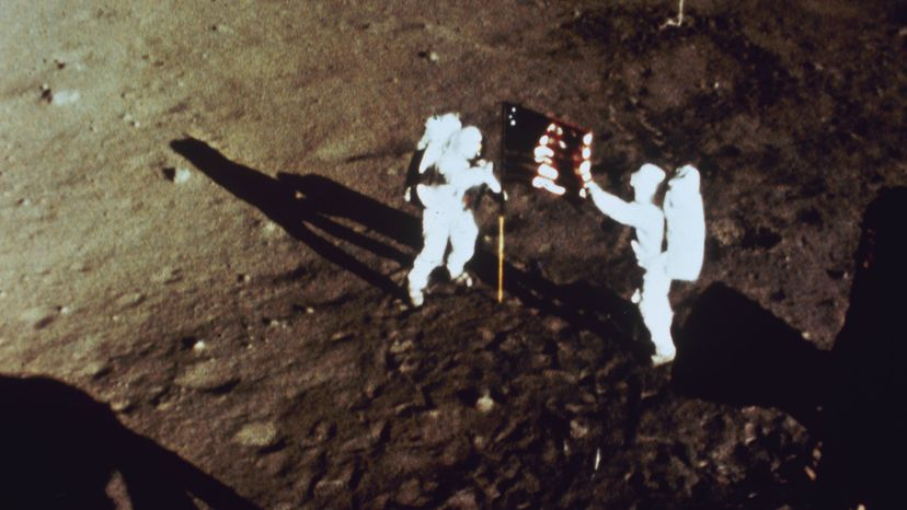 """Neil Armstrong and """"Buzz"""" Aldrin, moon surface"""