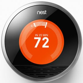 The Nest display tells you how long it will take for your home to reach the desired temperature.