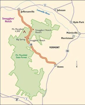 This map will guide you along Smuggler's Notch.