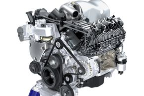 The 4.5-liter V-8 Duramax improves efficiency by 25 percent when compared with gasoline engines, while reducing pollutants and emissions. See more diesel engine pictures.