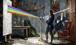 Newton disperses light with a glass prism.