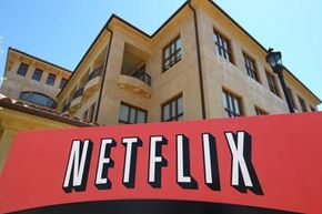 A sign posted in front of the Netflix headquarters in Los Gatos, California.