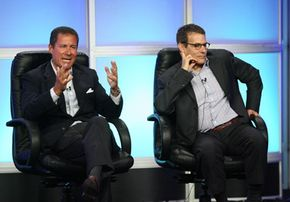 Directors of network programming often introduce TV schedules for the season. From left HBO co-president Richard Plepler and President of Programming Michael Lombardo speak at a press conference.