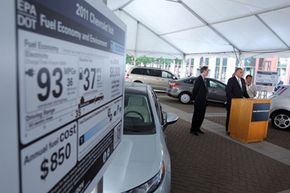 U.S. Secretary of Transportation Ray LaHood speaks during a news conference to announce new fuel economy labels for auto vehicles at the Department of Transportation on May 25, 2011 in Washington, DC. Want to learn more? Check out these alternative fuel vehicles pictures!