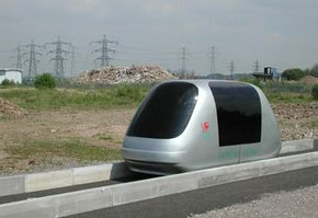 Advanced Transport Systems' ULTra podcar on its test track in Cardiff, Wales, in 2002.