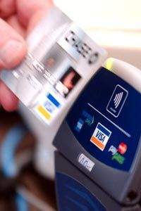 Making a payment with an RFID-equipped credit card.