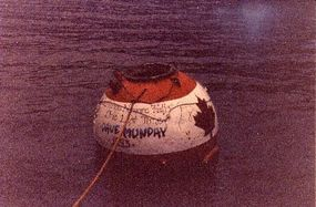 Barrel used by Munday to go over the Horseshoe Falls in 1993, floating at base of Falls
