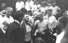 Jean Lussier (with bandage on head) following descent over Niagara Falls