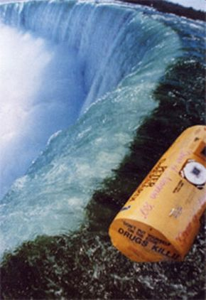 Peter and Jeffrey's barrel at the brink Horseshoe Falls