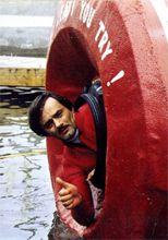 Karel in his barrel, July 2, 1984