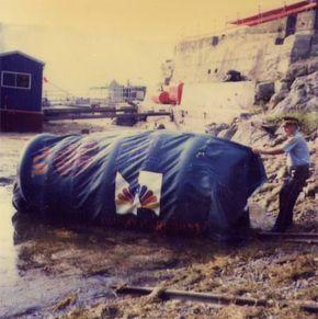 Steve's barrel, after his plunge over Horseshoe Falls