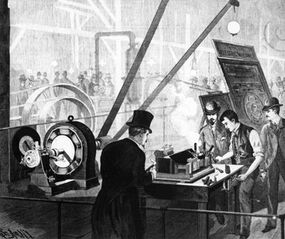 Elihu Thomson demonstrates an electric welder at the New York State Fair powered by a Thomson/Houston dynamo.