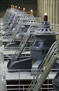 Generators inside the Hoover Dam produce alternating current for Arizona, Nevada and California.