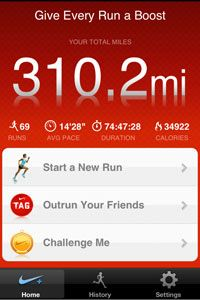 The Nike+ GPS app for iPhone lets runners track their stats without any other equipment -- but if you want to use it, you need to carry your smartphone with you while you run.