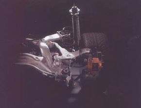 The rear suspension made generous use of aluminum, as does the front, to reduce weight.