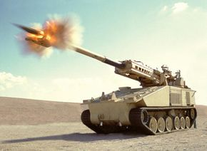 An image of a preproduction non-line-of-sight cannon in development by BAE Systems.