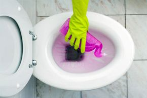 Using a water-soluble, or easily dissolved, cleanser and some muscle power goes a long way toward preventing odors in and around the toilet.