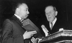 Martin Luther King, Jr. receives his Nobel Peace Prize in Oslo in 1964.