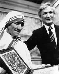 Mother Teresa accepts her Nobel Peace Prize in 1979.