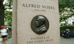 New York City is home to this monument honoring Albert Nobel, founder of the Nobel Prize.