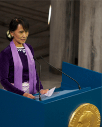 Laureate Aung San Suu Kyi gives a speech at the Nobel Peace Prize award ceremony in Oslo, Norway, on June 16, 2012.