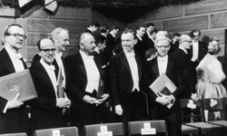 James Watson, Francis Crick and other Nobel laureates pose for a photograph in 1962.
