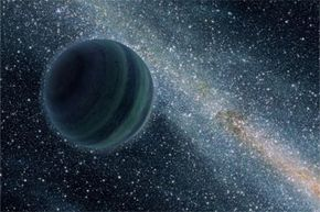 """This artist's conception illustrates a Jupiter-like planet alone in the dark of space, floating freely without a parent star. In 2011, Astronomers uncovered evidence for 10 such lone worlds, thought to have been """"booted,"""" or ejected, from developing solar systems."""