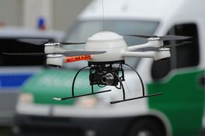 A police supervisory drone flying during a drill in Celle, Germany in August 2011.